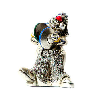 """Italian Vintage Clown,""""Linea Argenti"""",Figurine, Silver Plated, Collectable ."""