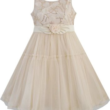 Sunny Fashion Flower Girl Dress Shinning Sequins Beige Tulle Layers Wedding Pageant Kids 2018 Summer Princess Party Size 2-10