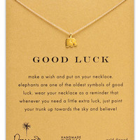 Dogeared 'Reminder - Good Luck' Elephant Necklace