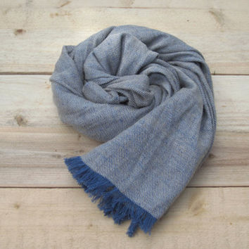 Blue linen scarf with wool, scarf with knot fringe, linen scarves, scarf linen, linen shawl, pure linen scarf, women scarf, men scarf