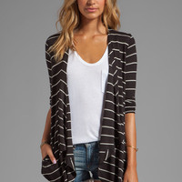 Heather Rib Stripe Cardi in Black/White from REVOLVEclothing.com