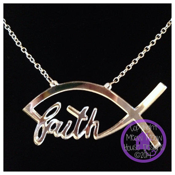 Faith fish necklace custom made laser from for Jesus fish necklace