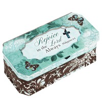 Rejoice in the Lord Always Aqua Blue Butterfly Jewelry Music Box Plays We Have a Friend in Jesus