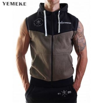 YEMEKE new sleeveless stitching hooded sweatshirts men brand-clothing hoodies mens fashion tracksuit male gray army green
