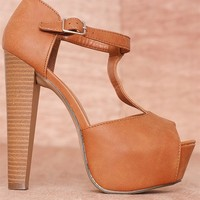 Breckelles High Fashion Hits Faux Leather Buckled T-Strap Peep Toe Pumps Brina-21 - Tan