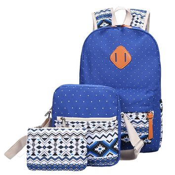 Backpack Set Canvas Printed Light weight bag