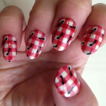 Free Shipping - PICNIC with ANTS Nail Art Wraps (ANT) Red Plaid Check 18 Full Nail Wraps -Waterslide Decals - Not stickers or vinyl