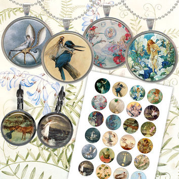 Fairy victorian images for Jewelry Making, Scrapbooking, Bottle caps Printable Digital Collage Sheet F004