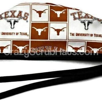 Men's Unlined Surgical Scrub Hat Cap in Texas Longhorns Squares