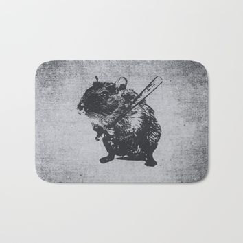 Angry street art mouse / hamster (baseball edit) Bath Mat by Badbugs_art