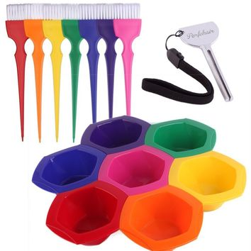 Set of 7 Small Hair Color Mixing Bowls and Brushes in Rainbow Colors - Set of 7 Different Colors