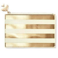 Pencil Pouch in Gold Stripes by Kate Spade New York - FINAL SALE