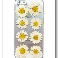iPhone 5 case, Resin with Real Flower,Daisy