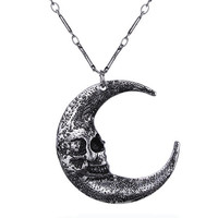 Skull Silver Crescent Moon Luna Pendant Necklace Occult