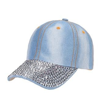 Unisex Studded Crystal Rhinestone Brim Adjustable Jean Baseball Cap
