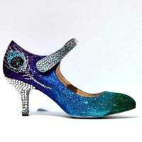 Peacock Feather Crystal Bridal Mary Jane