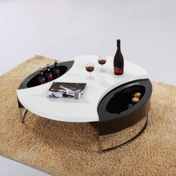 Stylish Round Coffee Table with Storage