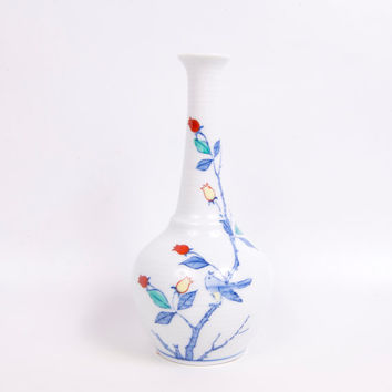 Vintage Japan Ribbed Vase White Porcelain Long Neck Bottle Vase Blue Bird Flowers Roses Hand Painted