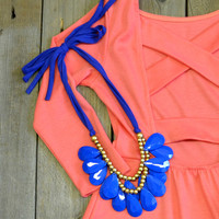 Wonderland Blue Teardrop Statement Necklace