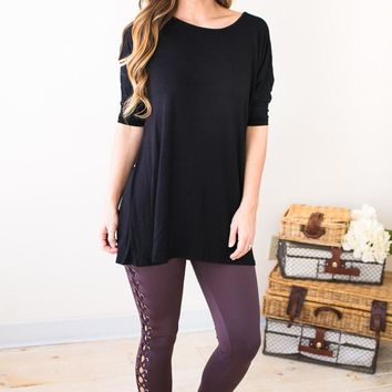 Not Tied Down Dark Mauve Lace Up Legging