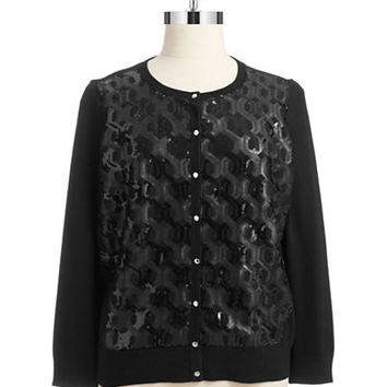 Vince Camuto Signature Plus Sequin Honeycomb Cardigan