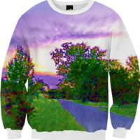 Purple Sunset Landscape Fall Sweatshirt created by Skylar | Print All Over Me