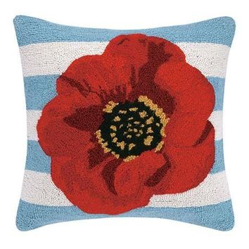 Red Poppy W/Blue Stripes Pillow