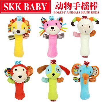 New 20cm Infant Baby Rattles Crib Stroller Toy 0-12 months Plush Bibi sound Cat dog early educational Newborn Bed Baby Soft Play