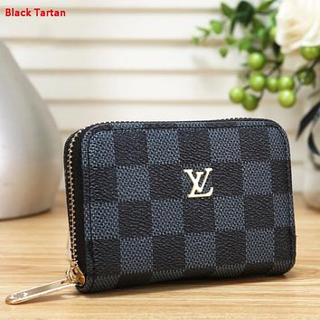 LV Louis Vuitton Fashion New Monogram Check Print Wallet Purse Black Tartan