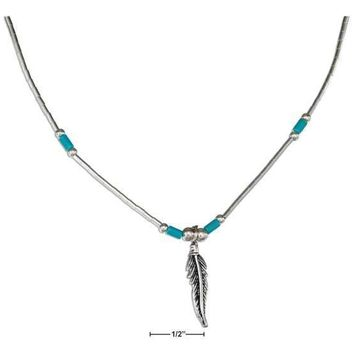 "STERLING SILVER 18"" LIQUID SILVER FEATHER NECKLACE WITH SIMULATED TURQUOISE HEISHI"