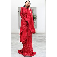 Save Me A Dance Red Glitter Floral Pattern Extra Long Sleeves Boat Neck Mermaid Maxi Dress
