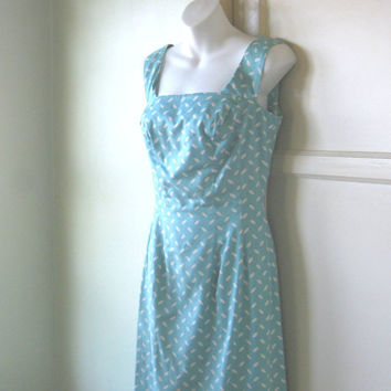 Midcentury Turquoise Blue Sheath Dress - 1950s-'60s Turquoise Wiggle Dress; Small-Medium - Retro Summer Sleeveless Midcentury Day Dress