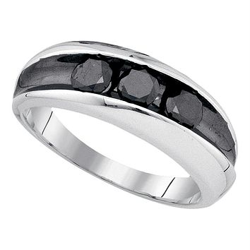 Sterling Silver Men's Round Black Color Enhanced Diamond 3-stone Band Ring 1.00 Cttw - FREE Shipping (US/CAN)