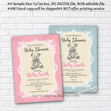 Cute Bear Baby Shower Invitation Baby girl shower baby boy Shower party 2color to choose from - card 585