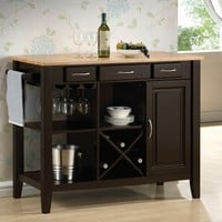 Chefs Helper Espresso finish wood and natural finish top kitchen island cart 3 drawers and cabinet