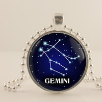 Gemini constellation birth sign, Zodiac, Astrology glass and metal Pendant necklace Jewelry.