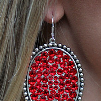 Pink Panache Silver Oval Earrings with Solid Red Crystals