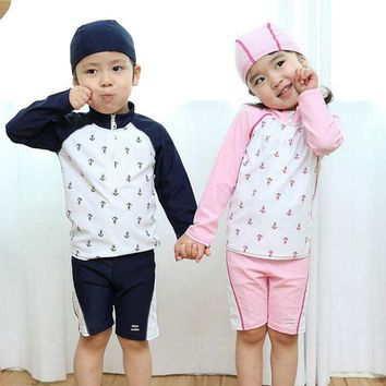 DCCKHG7 Professional Sport Swimsuit Kids Swimwear for Boys Girls 3Pieces New Summer Children Long Sleeves Swimming Clothes for 2-12Years