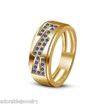 Men's Blue Sapphire Engagement Wedding Band Ring in Yellow Gold On .925 Sterling