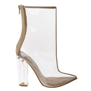 Twilight01S Nude By Bamboo, Women's Clear See Through Lucite Perspex Glass Block Heel Ankle Bootie
