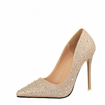 2017 New Red Bottom Women High Heel Crystal Shoes Sliver Rhinestone Pumps Sexy Party Shoes Bridal Wedding Pumps Shoes