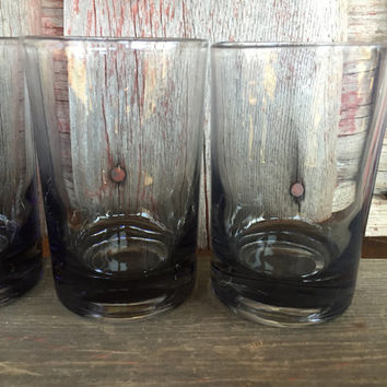 4 Vintage Whiskey Shot Glasses, vintage grey glass 6 oz tumblers, Vintage bar cart glasses, retro juice glasses, tumblers shot glasses