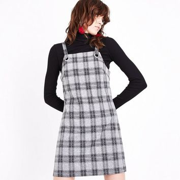 Light Grey Check Pinafore Dress | New Look