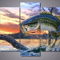 Bass Fishing Dream 5-Piece Wall Art Canvas