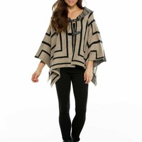 Elan Clothing Poncho Sweater with Buckles SW1167