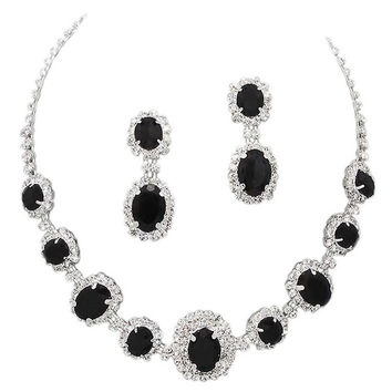 Black Regal Statement Bridal Bridesmaid Necklace Earring Set Silver Tone