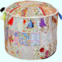 Pretty Indian Pouf in White/Cream Stool Vintage Patchwork Living Room Ottoman Cover Hassock bench furniture pouffe footstool chair bean bag