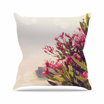 "Sylvia Coomes ""Flowers In Paradise"" Green Pink Throw Pillow"