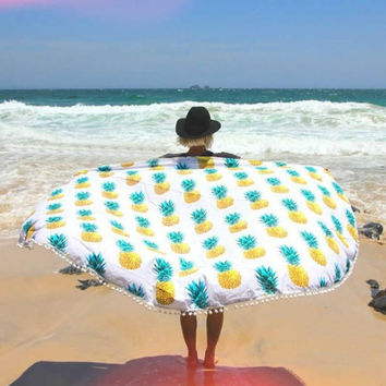 Boho Pineapple Round Towel Beach Printed Sunbath Towel Beach Yoga Mat