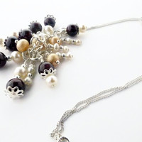 Pearl necklace, sterling silver hand wired garnet & pearl chain necklace, UK shop